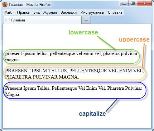 Разные регистры символов в браузере