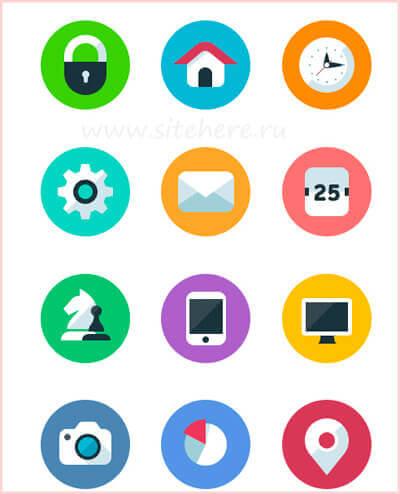 Векторный набор flat иконок
