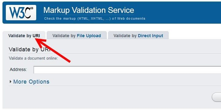 "Вкладка ""Validate by URI"""