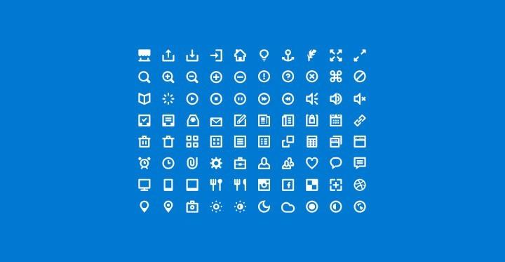 80 мини-иконок (PSD + шрифты)