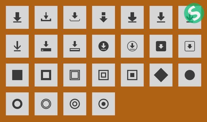 Коричневый блок с иконками