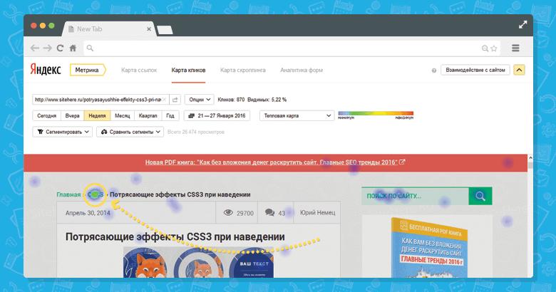Карта кликов Яндекс.Метрика